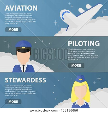 Set of vector flat horizontal banners of aviation, piloting and stewardess. Business concept of traveling, flying, airport and pilot profession.