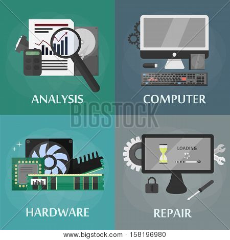 Vector isometric square banners of hardware, repair, computer and electronic. Business concept of technology store. Set of isolated computer elements in isometric design.
