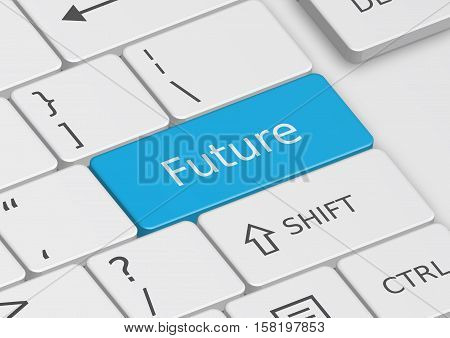 The word Future written on a blue key from the keyboard