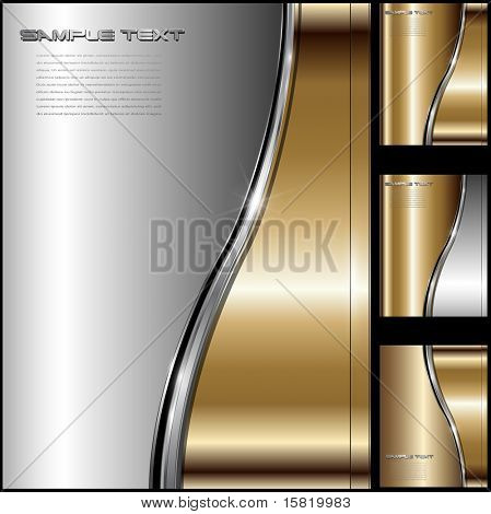 Abstract business background luxury gold metallic, vector.