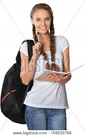 Friendly Girl with Rucksack Standing and Holding Note Pad - Isolated
