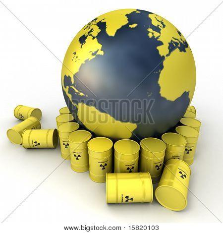 A terra, orientada para o Atlântico, cercado por barris de resíduos nucleares