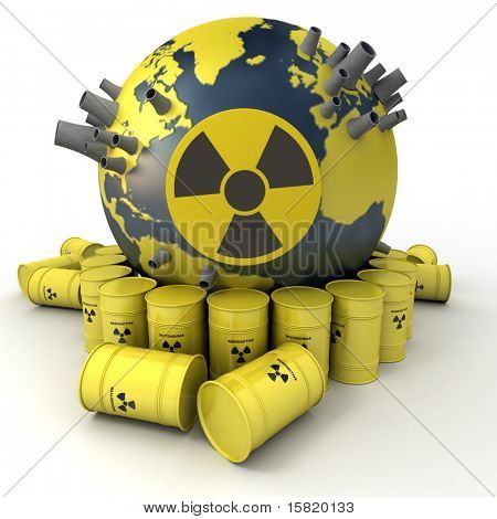 3D rendering of the Earth with nuclear power stations surrounded by barrels of nuclear waste