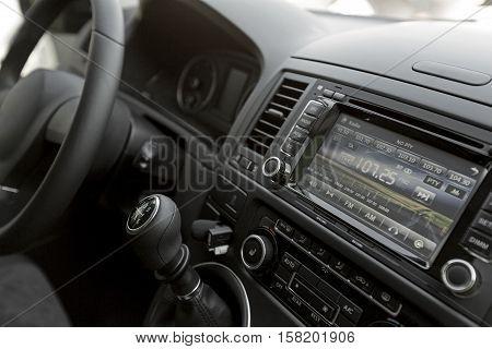 Closeup of a Car Audio System in a Modern Car