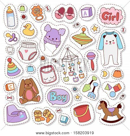 Patch badges with toys, speech bubbles, unicorn, cloth and other elements. Vector illustration baby stickers badge isolated. Set of baby stickers, pins, patches in cartoon comic style.