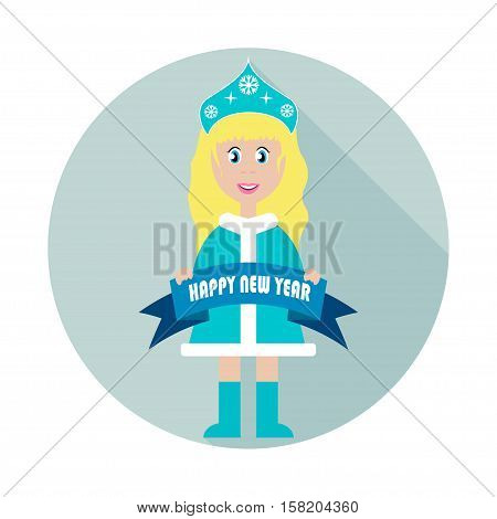 Snowmaiden - Vector new year icon. Snow Maiden New Year's snow queen Russian winter doll character of magic fairy tales mistress of a New Year's holiday. Happy New Year