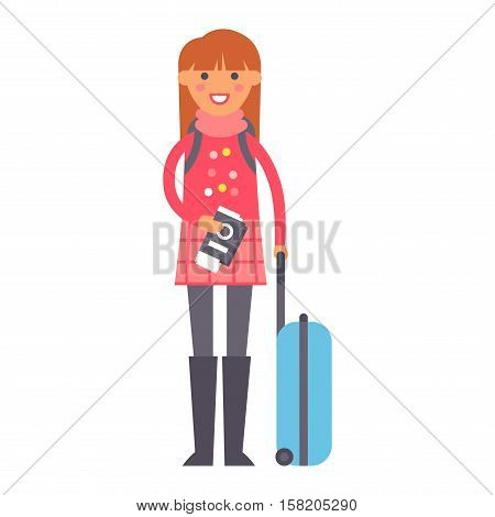 Travel girl standing with suitcases ready to travel, people travel concept. Vector vacation woman character summer tourism. Female with baggage and passport. Traveler person tourism with bag.