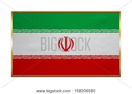 Iranian national official flag. Islamic Republic of Iran patriotic symbol banner element background. Correct colors. Flag of Iran with golden frame fabric texture illustration. Accurate size color
