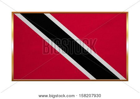 Trinidadian and Tobagonian national official flag. Patriotic symbol banner element background. Correct colors. Flag of Trinidad and Tobago golden frame fabric texture illustration. Accurate size