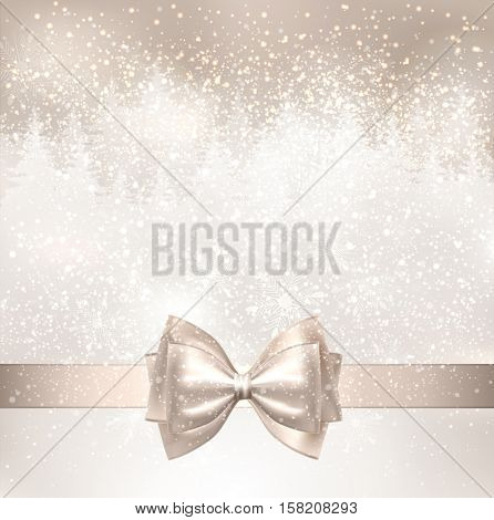 Shiny Christmas background with winter snowy landscape and fir-trees. Holiday bow.