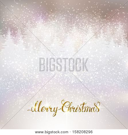 Shiny holiday background with winter snowy landscape and gold Merry Christmas lettering