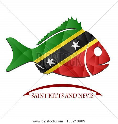 fish logo made from the flag of Saint Kitts and Nevis