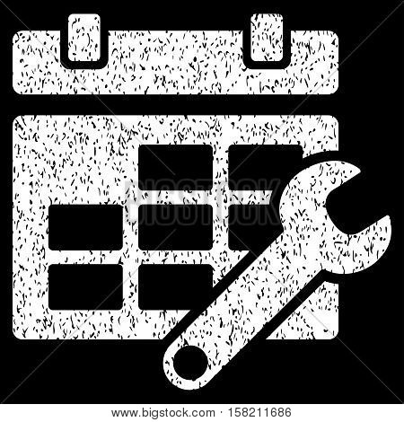 Timetable Options grainy textured icon for overlay watermark stamps. Flat symbol with scratched texture. Dotted vector white ink rubber seal stamp with grunge design on a black background.