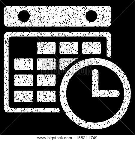 Timetable grainy textured icon for overlay watermark stamps. Flat symbol with dust texture. Dotted vector white ink rubber seal stamp with grunge design on a black background.