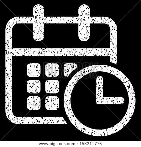 Timetable grainy textured icon for overlay watermark stamps. Flat symbol with unclean texture. Dotted vector white ink rubber seal stamp with grunge design on a black background.