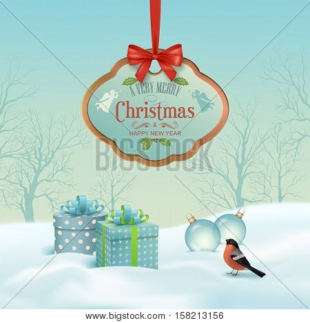 Vector Christmas winter landscape with hanging wooden sign, gifts, snow covered hills, winter forest, bird bullfinch