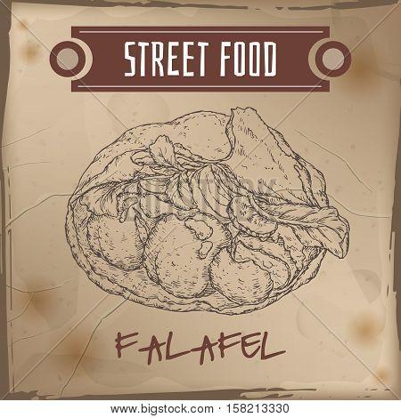 Falafel in pita sketch on grunge background. Middle eastern cuisine. Street food series. Great for market, restaurant, cafe, food label design.