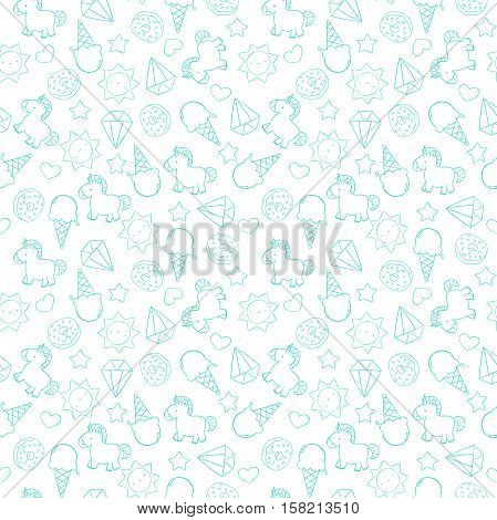 Unicorn outline pattern with unicorn and magic doodles.