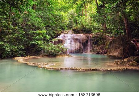Erawan Waterfalls (Thailand) fairy atmosphere and forest