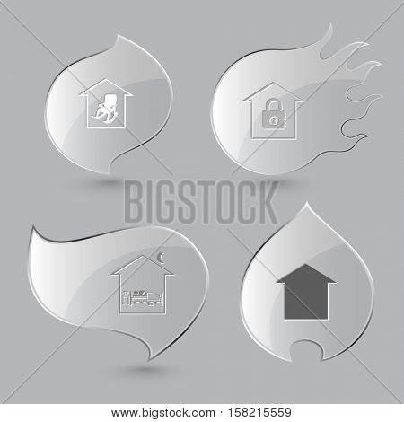 4 images: home comfort, bank, home bedroom. Home set. Glass buttons on gray background. Fire theme. Vector icons.