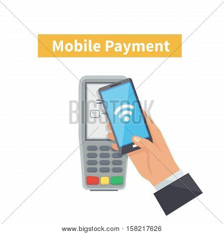 Mobile payments concept. Payment transaction with mobile phone. Vector illustration.