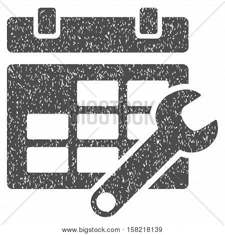 Timetable Options grainy textured icon for overlay watermark stamps. Flat symbol with unclean texture. Dotted vector gray ink rubber seal stamp with grunge design on a white background.