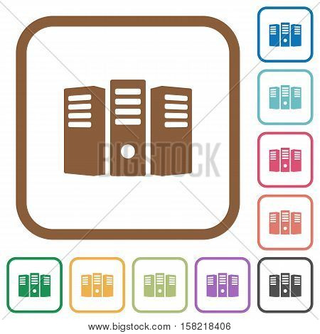 Server hosting simple icons in color rounded square frames on white background