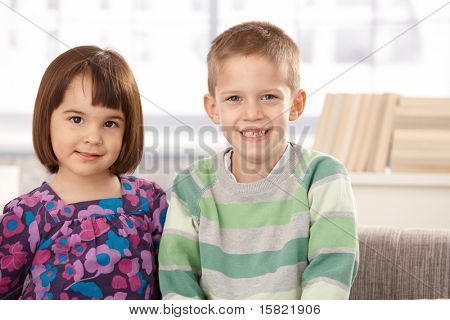 Portrait of cute small kids smiling at camera.?