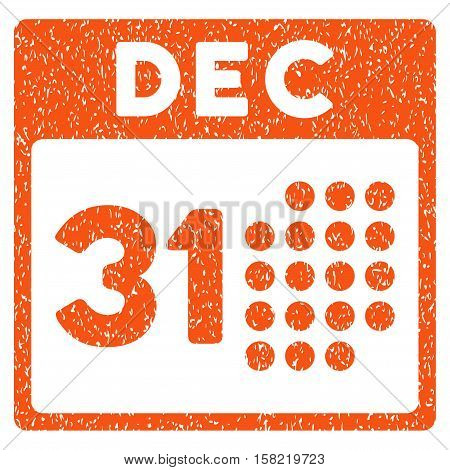 Last Year Day grainy textured icon for overlay watermark stamps. Flat symbol with unclean texture. Dotted vector orange ink rubber seal stamp with grunge design on a white background.