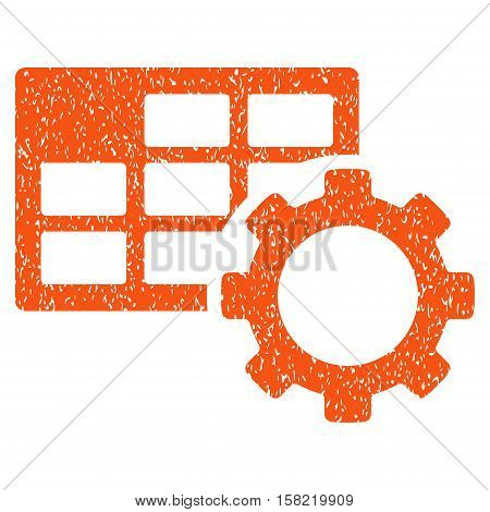 Schedule Settings grainy textured icon for overlay watermark stamps. Flat symbol with dirty texture. Dotted vector orange ink rubber seal stamp with grunge design on a white background.