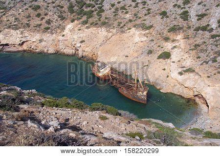 Old ship wreck in bay in Amorgos island in Greece