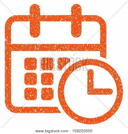 Timetable grainy textured icon for overlay watermark stamps. Flat symbol with unclean texture. Dotted vector orange ink rubber seal stamp with grunge design on a white background.