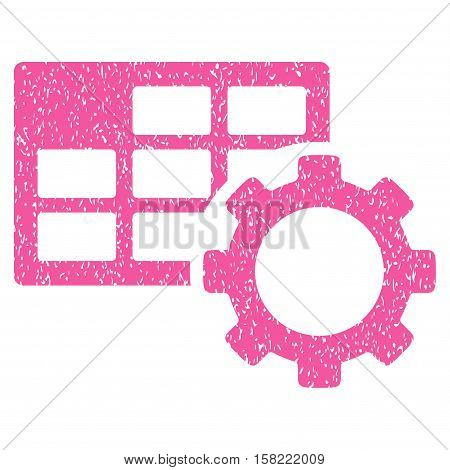 Schedule Settings grainy textured icon for overlay watermark stamps. Flat symbol with dirty texture. Dotted vector pink ink rubber seal stamp with grunge design on a white background.
