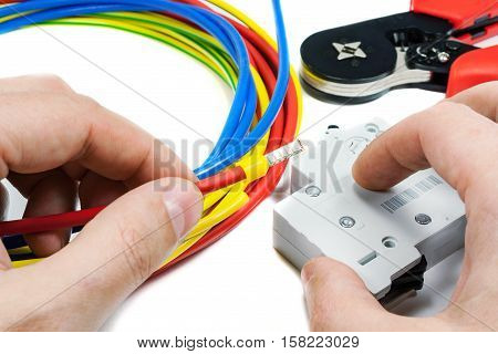 Connect the circuit breaker to the power cable on a white background