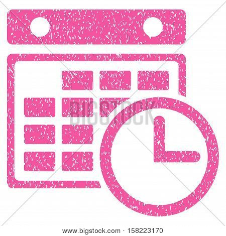 Timetable grainy textured icon for overlay watermark stamps. Flat symbol with dust texture. Dotted vector pink ink rubber seal stamp with grunge design on a white background.
