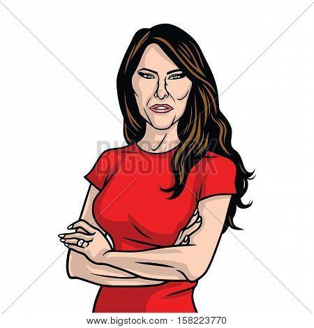 November 24, 2016. Melania Trump US First Lady Vector Portrait