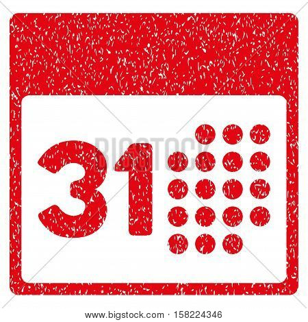Last Month Day grainy textured icon for overlay watermark stamps. Flat symbol with dust texture. Dotted vector red ink rubber seal stamp with grunge design on a white background.