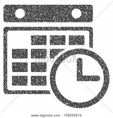 Timetable grainy textured icon for overlay watermark stamps. Flat symbol with unclean texture. Dotted vector gray ink rubber seal stamp with grunge design on a white background.