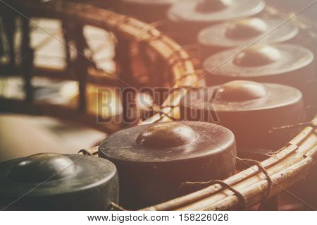 Thai musical instrument Gong Instrument for rhythm vintage style