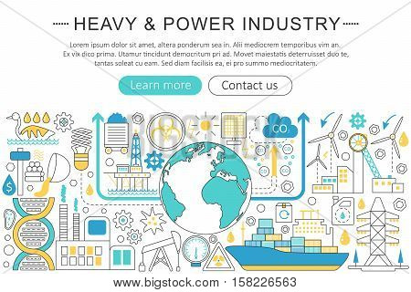 Vector modern line flat design Heavy and power industry concept. Heavy power industry icons Website Header, app design poster banner