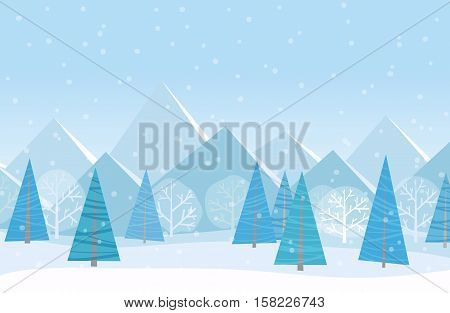 Beautiful Chrismas winter flat landscape background. Christmas forest woods with mountains. New Year winter vector landscape