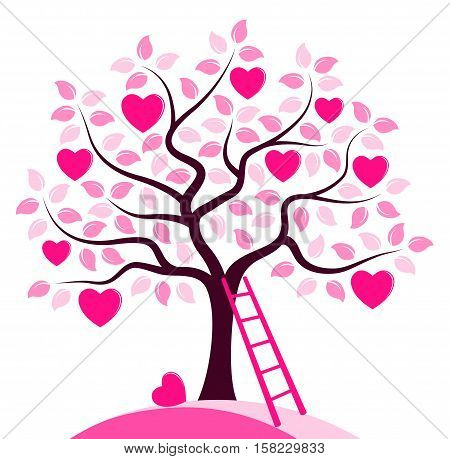 vector heart tree and ladder isolated on white background