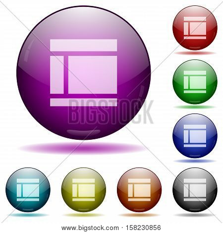 Two columned web layout color glass sphere buttons with sadows.