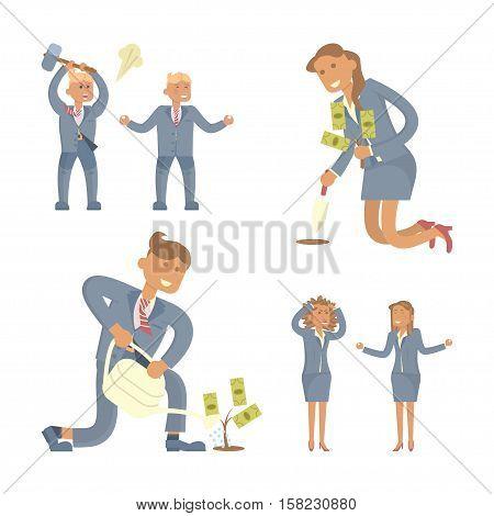 Business success concepts set. Business person men and women. Vector Character design.