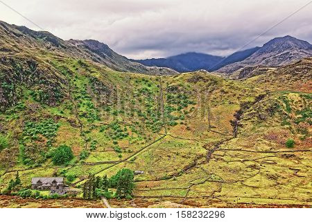 Beautiful Panoramic View To Chain Of Mountains National Park Snowdonia