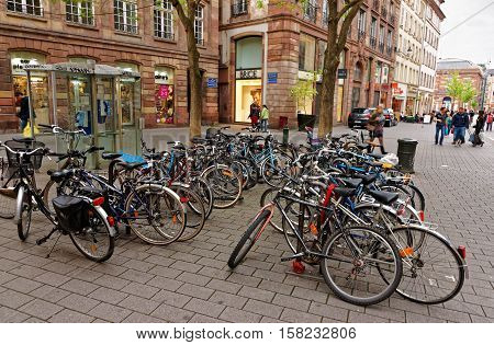 Bicycles On Grandes Arcades Street In Strasbourg In France