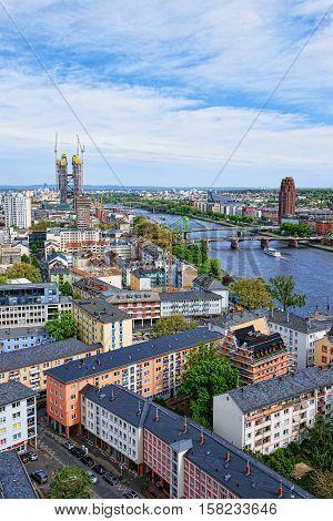 Bridges Above Main River In Frankfurt Am Main