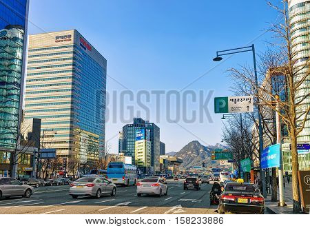 Busy Roads With Car Traffic In Jung District Of Seoul