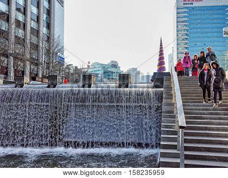Cheonggye Stream And Public Recreation Walkway Of Seoul