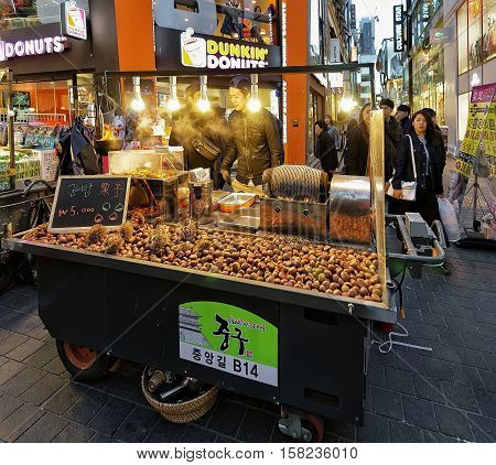 Chestnut Stall At Myeongdong Open Street Market In Seoul